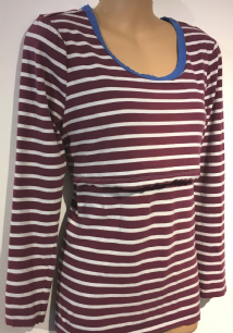 0f46897f61a7b MAMAS & PAPAS BURGUNDY STRIPED LONG SLEEVED NURSING TOP SIZE UK 10 .